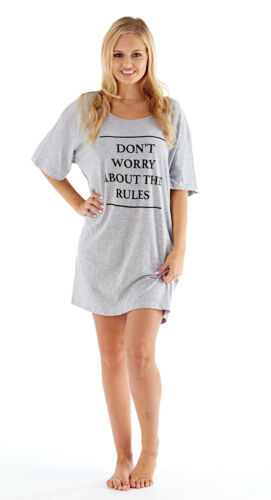 Ladies 100/% Cotton Short Sleeve Jersey Nightdress//Nightshirt Blue,White,Grey