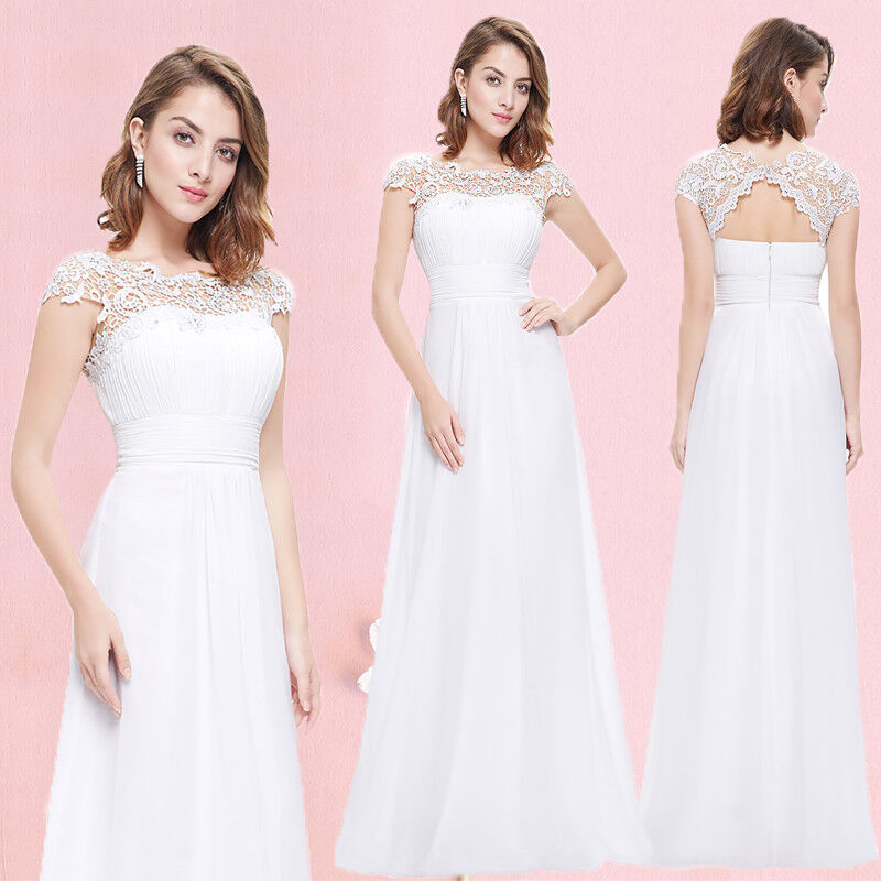 Ever-Pretty Bridesmaid Dresses Long White Lace Formal Evening Prom Gown 09993
