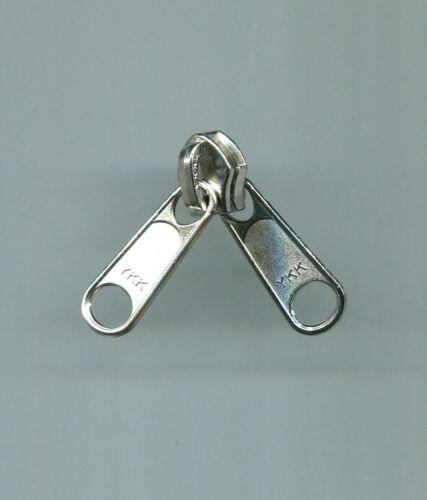 #8C Chromed Aluminum 2 Pull Reversible Slider for coil zipper YKK New