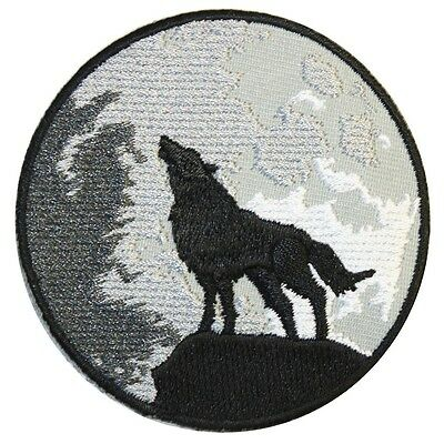"Extreme Largeness  Iron On Patch "" Wolf and moon""   Tumblr DIY Kitsch"