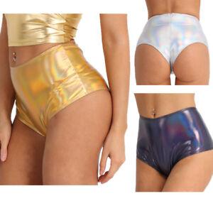 Women Metallic Rave Booty Shorts Bottoms Panties Hot Pants Disco Dance Clubwear