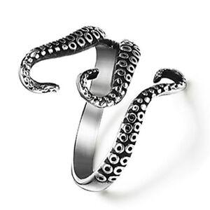 Men-Open-Adjustable-Ring-Vintage-Black-Titanium-Steel-Sea-Monster-Mood-Rings-WE