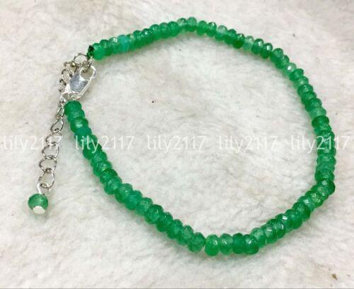 "Fashion 2x4MM Naturel Vert Jade facette Blotter Gemstone Bracelet 7.5/"" AAA"