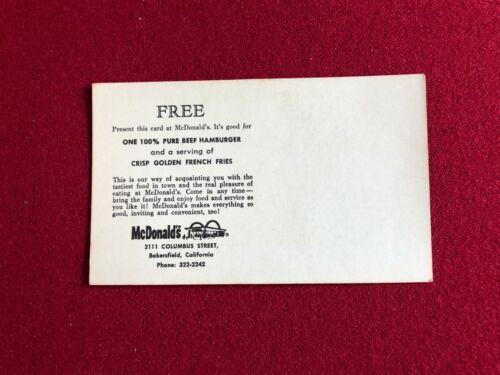 "Large Free Hamburger Mailer Card /""Un-Used/"" McDonalds 1960/'s Scarce"