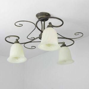 Deckenleuchte rustikal mediterran 3xE27 braun Wohnzimmer Deckenlampe ...