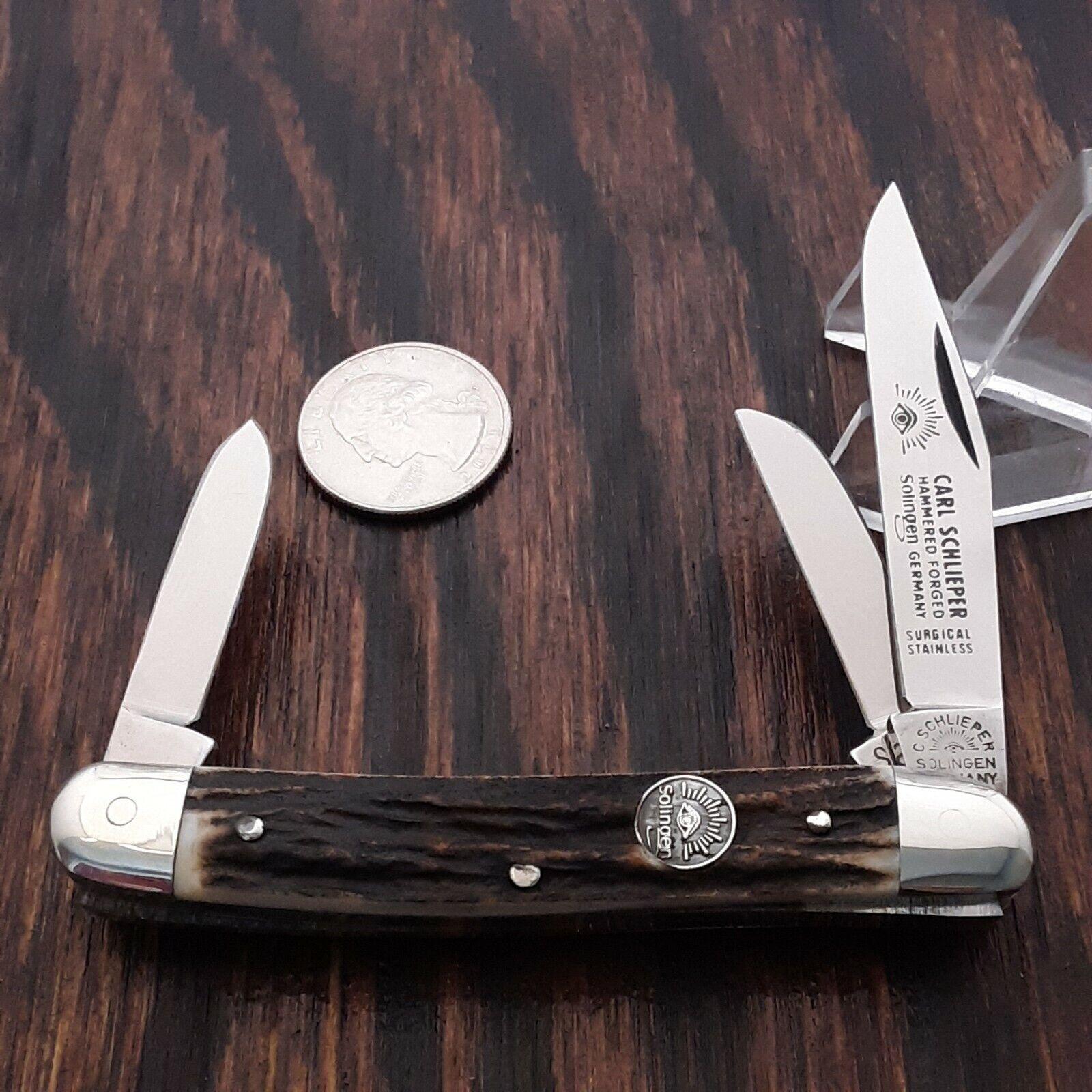 VINTAGE CARL SCHLEIPER EYE BRAND STAG POCKET KNIFE MADE IN SOLINGEN GERMANY