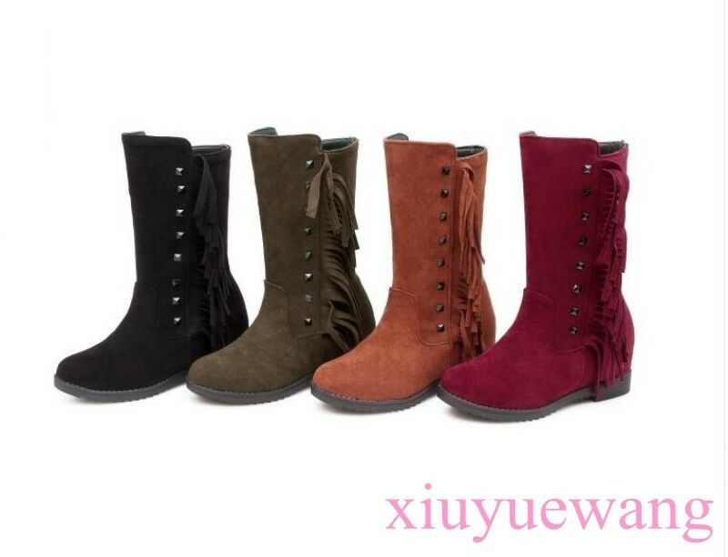 Women Punk Style Tassel Knee High Boots Chunky Heel Faux Suede Leather Gladiator
