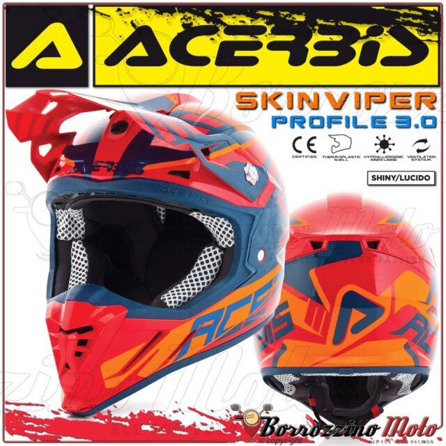 CASQUE ACERBIS PROFILE 3.0 SKINVIPER MX MOTOCROSS ENDURO ROUGE/BLEU TAILLE S