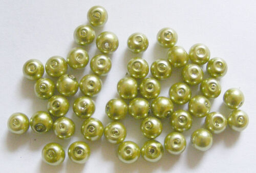 200 Glass Pearl Beads Bright Olive Green 6mm