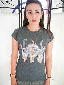 Women-039-s-Cat-Indians-T-shirt-Ladies-Top-T-shirt-Cat-T-shirt-Cat-Top-Cats-New