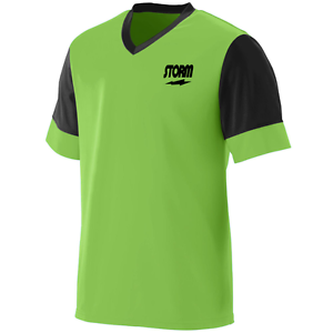 Storm Men/'s Lightning Performance Crew Bowling Shirt Dri-Fit Black Lime Green