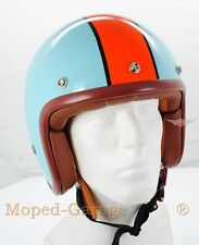 Motorrad Moped Roller Red Bike Jet Helm Blau Orange Mofa Cafe Racer  Gr. S
