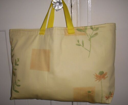 KNITTING BAG YELLOW FLOWERS SEWING CROCHET STORAGE  MOTHERS DAY GIFT HOMEMADE
