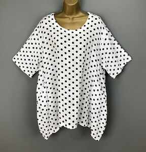NEW Italian Tunic Top White Spotted Linen Lagenlook Plus Size UK 16 18 20 22