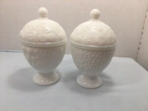 Avon-Milk-Glass-Dishes-Pedestal-With-Lids-Lot-Of-2