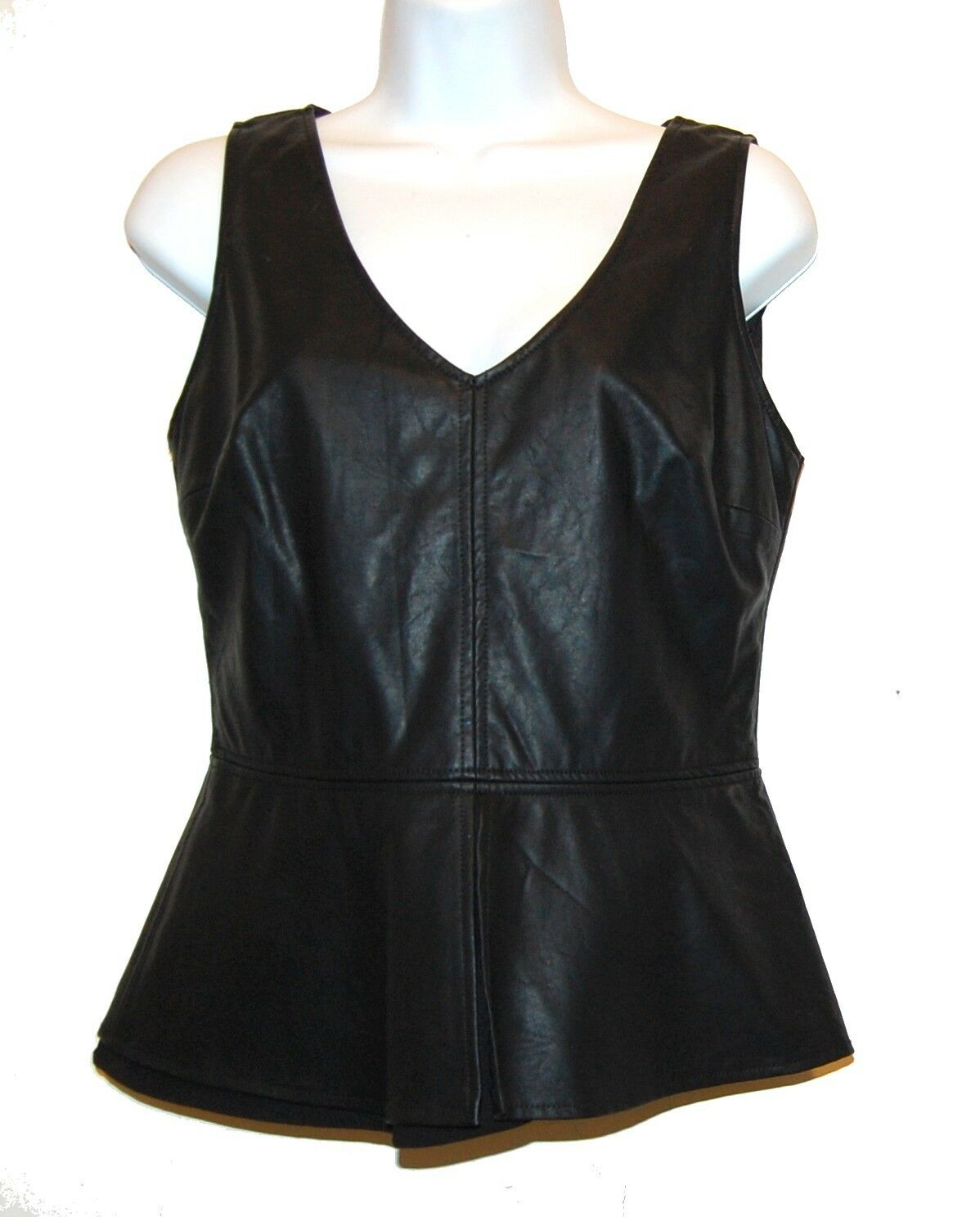Zara Trafaluc schwarz Woman Glamour Faux Leather Peplum Shirt Größe L NEW