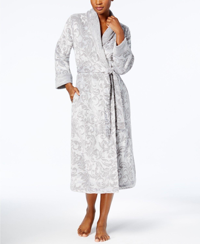 Charter Club Long Scroll-Texture Robe 171188 Grey Medium Large XL XXL XXXL