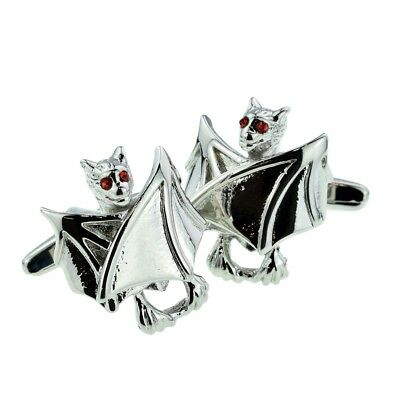 Clothing, Shoes & Accessories Rhodium Plated Closed Wings Bats With Red Eyes Cufflinks In A Box X2aj306 Chills And Pains Men's Accessories