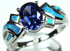Blue Fire Opal Inlay Solid 925 Sterling Silver Band Ring Sizes 6,7,8
