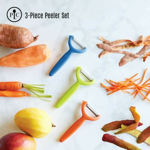 Pampered Chef Y SHAPED PEELER SET of 3 Vegetable Serrated and Julienne w// covers