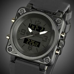 INFANTRY-Mens-Digital-Quartz-Wrist-Watch-Sport-Alarm-Chronograph-Black-Rubber-US