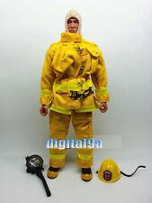"1/6 Scale Fireman Uniform Helmets Gas Mask Equipment Set in Yellow F 12"" Figure"