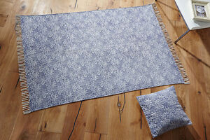 Image Is Loading Distressed Faded Stone Washed Printed Blue Cotton Dhurrie