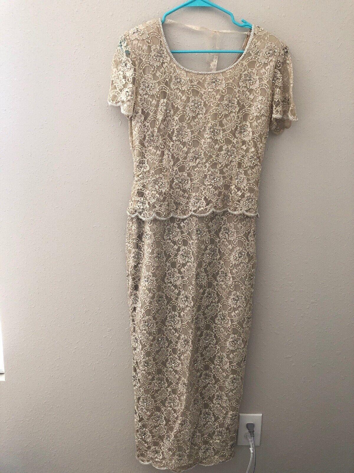 Vintage Stenay Wedding Dress 6 Sequin Floral Lace Beaded Beige