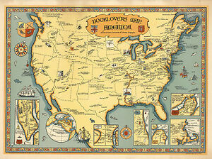 Map Of America History.Details About 1921 Book Lovers Map America Pictorial Art Poster Wall Decor Literature History