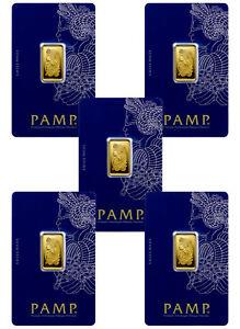 Lot-of-5-PAMP-Fortuna-5-gram-9999-Gold-Bars-Sealed-w-Assay-Cert-SKU30875