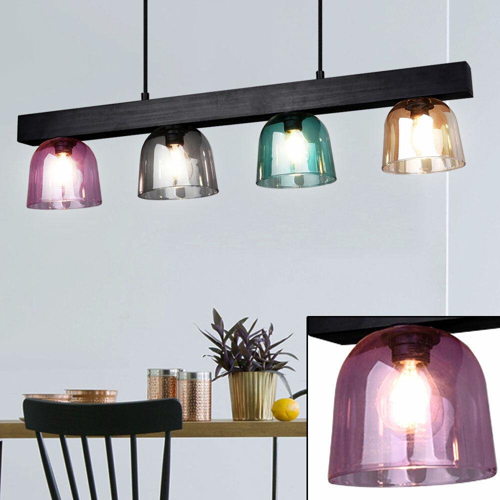 Hänge Pendel Leuchte Holz Schlaf Gäste Zimmer Lampe Glas farbig Decken Strahler