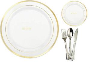 10' & 9' Dinner/Wedding Party Disposable Plastic Plates Silverware White/GoldRim