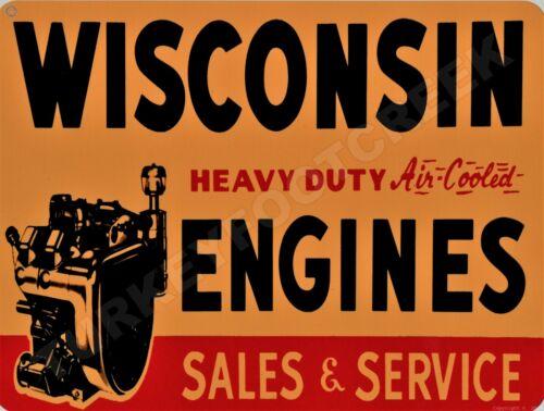 """WISCONSIN ENGINES SALES /& SERVICE 9/"""" x 12/"""" Sign"""