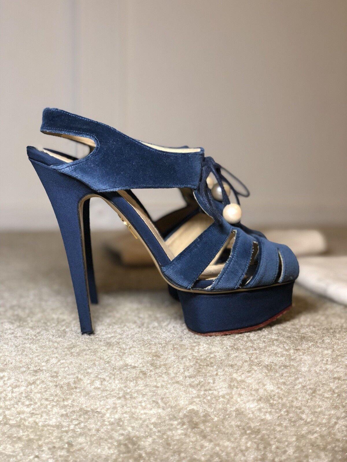 Charles Olympia  38.5 Scarpe blu con Perle  elementi di novità
