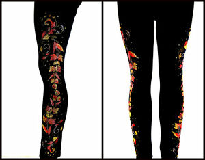 con o Leggings lunghi Plus Stud Autumn Size Impreziosito Leaves strass Regular UTdOqwYfU