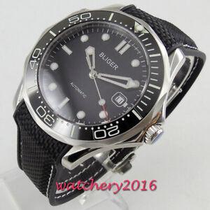 41mm-Bliger-Schwarz-Dial-Date-Luminous-Sapphire-Automatisch-movement-mens-Watch