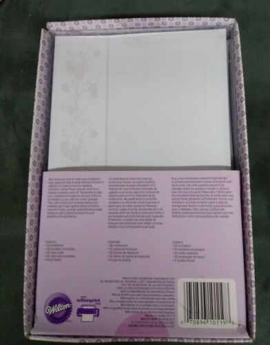 Wilton  50 Wedding Invitations Printable Kit Reply Cards Envelopes Silver