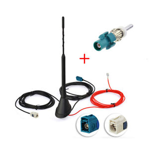 DAB-AM-FM-Car-Radio-Antenna-Aerial-Active-Amplified-Roof-Mount-Fakra-DIN-Adapter