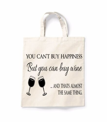 You Cant Buy Happiness Quote Canvas Tote Shopping Bag Cotton Shopper Bag Gift