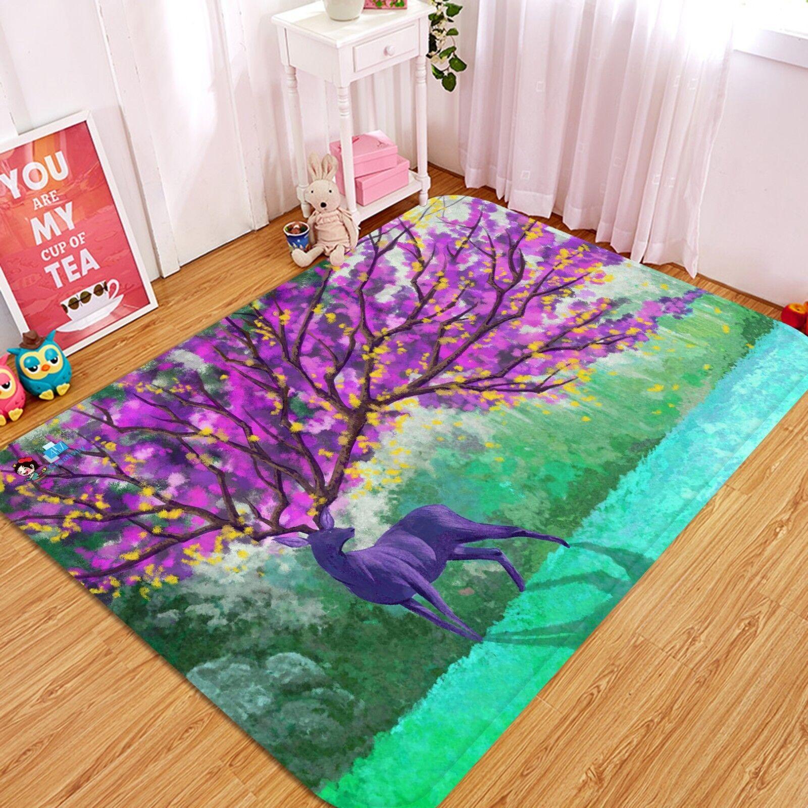 3D Nice Deer Tree 073 Non Slip Rug Mat Room Mat Quality Elegant Photo Carpet AU