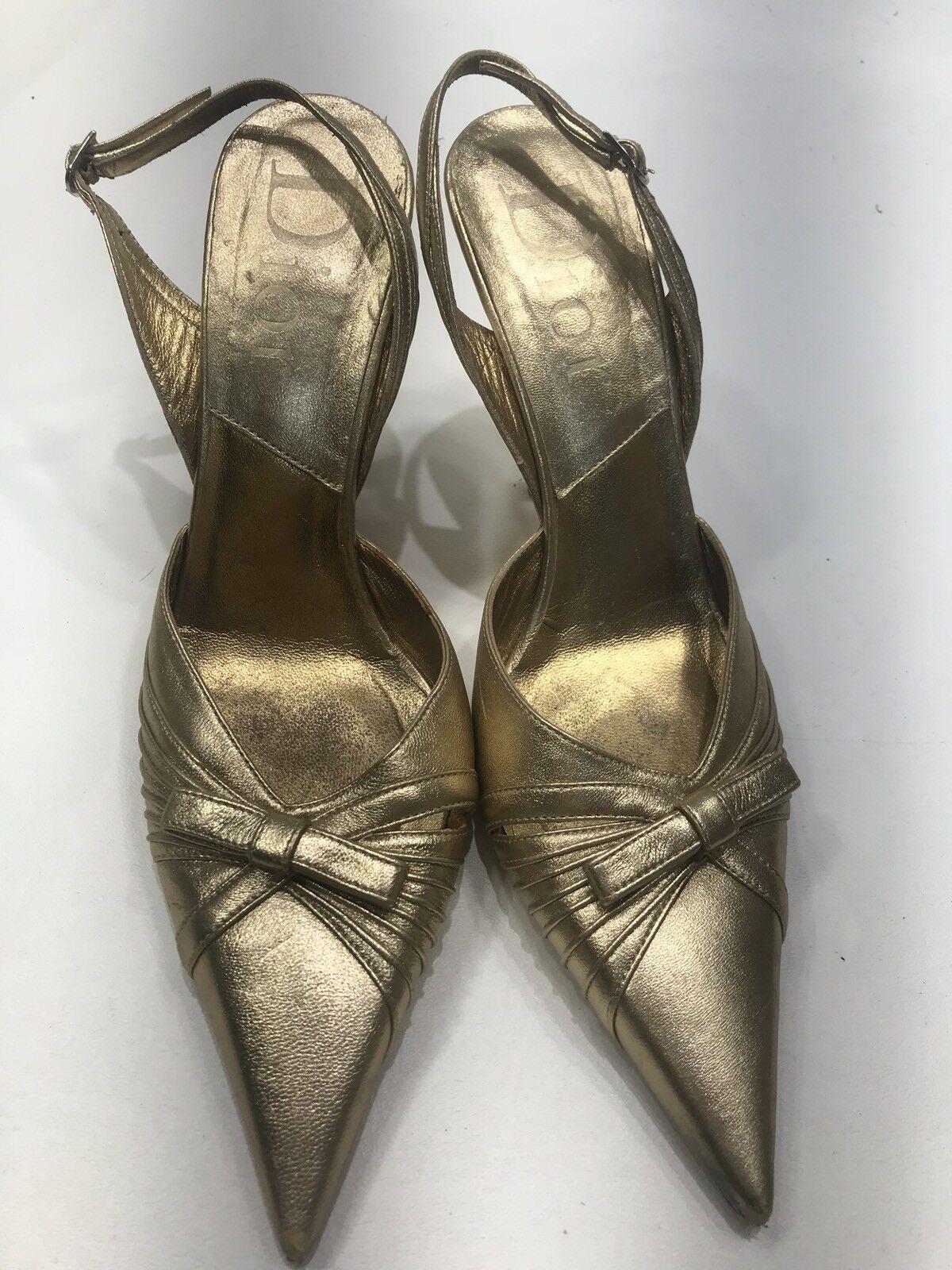 "nuovo sadico Dior Pumps Pumps Pumps 39.5 oro Leather Slingbacks Bows ""D"" Charm LOGO Buckles  grandi prezzi scontati"
