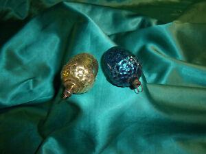2-antike-Christbaumkugel-Glas-Eichel-blau-gold-alte-Formen-Weihnachtskugeln