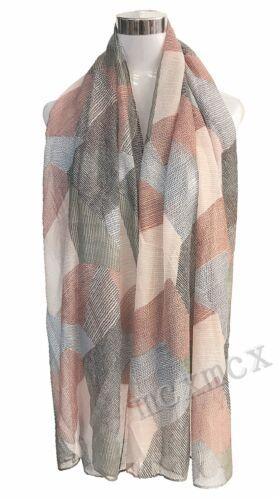 Women Ladies Vintage Chequer Rhombus Pattern Print Scarf Shawl Warp Stole