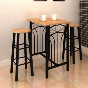 Tavolo Bar Sgabelli.Dettagli Su Set Tavolo Bar Alto 2 Sgabelli Legno E Acciaio Cucina Bar Ristorante