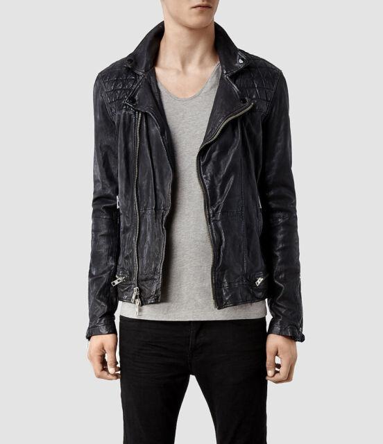 All Saints Conroy Ink Leather Biker Jacket Ebay