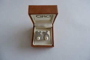 CIRO-VINTAGE-SILVER-PLATED-FAUX-PEARL-amp-ZIRCONIA-PIERCED-EARRINGS-C1980-039-S-BOX