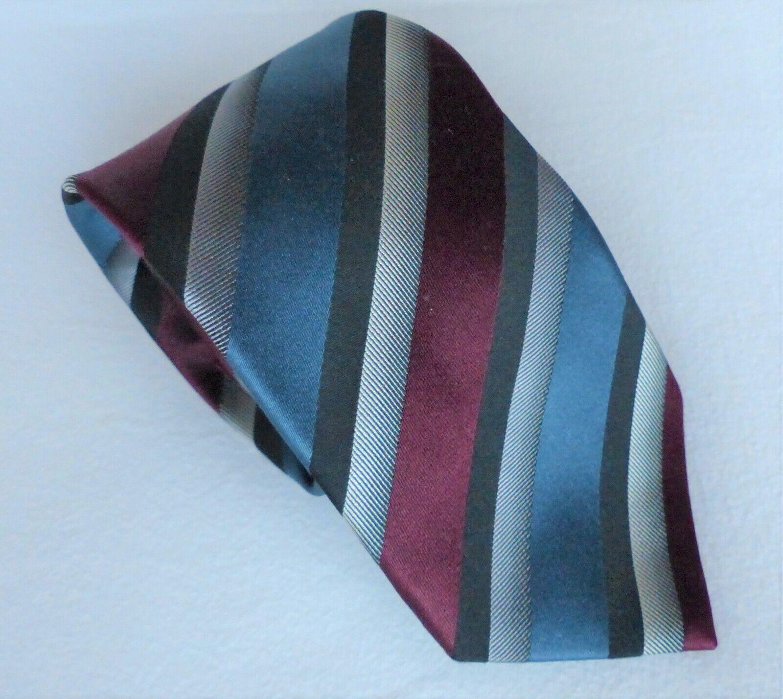 Eterna Excellent Blackline-Tie Blue Grey Bordeaux Striped - 100% Silk