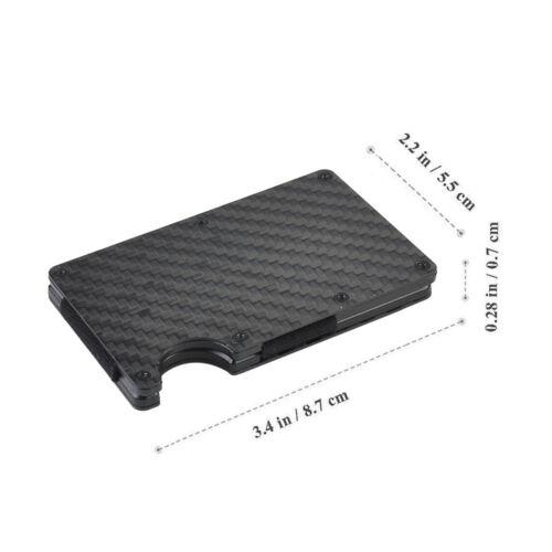 RFID Blocking Carbon Fiber Minimalist Money Clip Front Pocket Men/'s Wallet