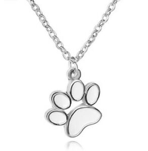 Dog Paw Wolf Pendant Necklace Kids