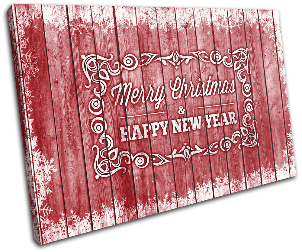Christmas Decoration Wall Canvas ART Print XMAS Picture Gift Wood 17 rot Christm